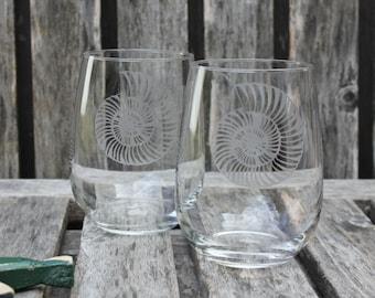 Nautilus Shell Wine Glass, Nautical Home, Hand Etched, Coastal Barware, Nautical Wedding, Housewarming, Sea Shell Wine Glass