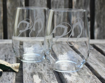 Flip Flop Stemless Wine Glasses, Beach Home, Hand Etched, Coastal, Beach Wedding, Housewarming Gift, Sea Life, Vacation, Fun in The Sun