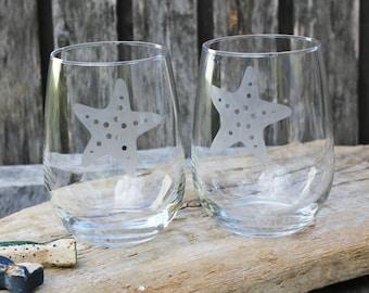 Starfish Stemless Wine Glasses, Nautical Home, Hand Etched, Coastal Barware, Nautical Wedding, Housewarming Gift, Sea Life, Sea Shell