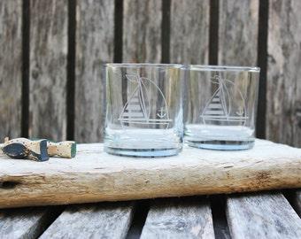 Sailing Boat Rocks Glasses, Hand Etched Barware, Nautical Rocks, Coastal Barware, Nautical Wedding, Housewarming, Coastal Theme, Sail Boat