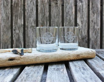 Compass Rose Rocks Glasses, Nautical Home, Hand Etched, Coastal Barware, Nautical Wedding, Housewarming Gift, Coastal Theme, Sailor