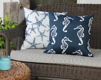 Sea Life, Seahorse and Starfish Navy and White Outdoor Pillow, Coastal Theme, Beach House, Sealife, Seahorse, Starfish, Outdoor Pillow