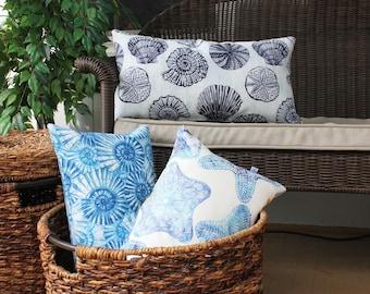 Sea Shell Lumbar Pillow, Outdoor Decor, Seashell Pillow, Nautilus, Starfish, Sea Life, Coastal Home, Beach Theme