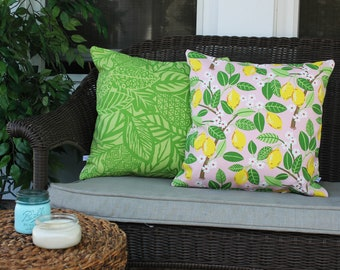 Cherry Blossoms with Lemons and Green Palms, Yellow Leaves, Spring Pillow, Happy Spring, Tropical Home, Cherry Blossom Decor