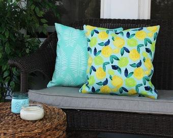 Lemon and Lime with Mint Fern Pillow, Spring Pillow, Tropical Home, Lemon Decor, Outdoor Spring Pillow, Tassled Pillow, Boho Beach Decor