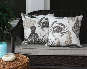 Crab and Sea Life Outdoor Pillow, Neutral Home, Coastal, Nautical, Crab, Octopus Pillow, Sea Shell, Nautical Home, Tan Sea Life Pillow