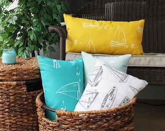 Sailboat Lumbar Pillows, Sailing Life, Sailor, Nautical Home, Coastal Modern, Maritime Decor, Nautical Theme, Sailboats