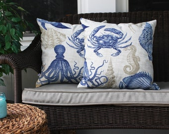 Crab and Sea Life Outdoor Pillow, Maryland Home, Coastal, Nautical, Maryland Blue Crab, Octopus Pillow, Sea Shell, Nautical Home