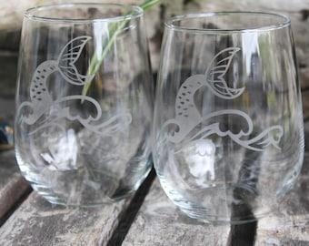 Whale Tail, Mermaid Tail Wine Glasses, Mermaids, Merman, Whale Wine Glass, Etched Glass, Coastal, Sea Worthy