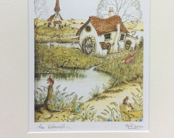 Watermill signed print from a watercolour by UK artist Mark Denman