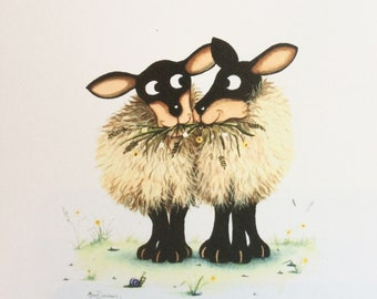 Happy Anniversary to both of ewe greetings card by UK artist Mark Denman can be personalised with any names if required.