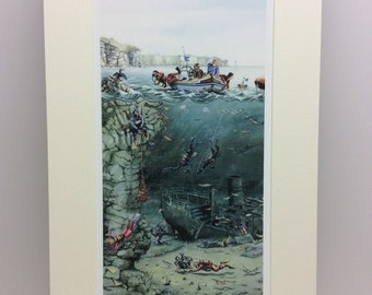 Shipwreck signed print from a watercolour by Mark Denman
