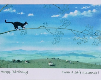 Happy Birthday from a safe distance greetings card by UK artist Mark Denman .Can also be personalised.