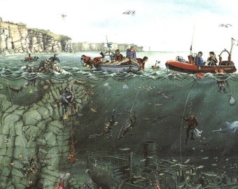 """Divers signed print by Mark Denman image size 13"""" diameter, size including mount 17 x 17"""""""