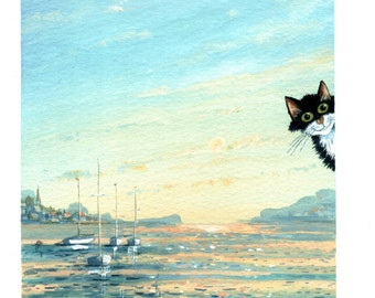 Fluffy spoiling the view greetings card by UK artist Mark Denman. Can also be personalised