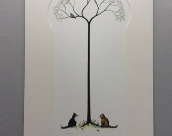 I dare you signed print from a watercolour by Mark Denman