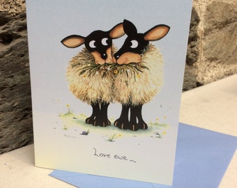 love ewe greetings card by UK artist Mark Denman. Can also be personalised.