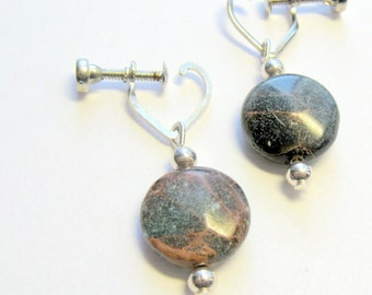 Aqua Terra Jasper Screw Back Earrings  E1428