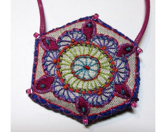 Asian Influened Hand Embroidered Necklace
