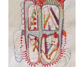 Hand Embroidered Victorian Window
