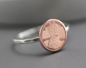 Penny Ring, Money Jewelry, Lucky Penny Ring, Copper Penny, Penny Stack Ring, Lucky Ring, Lucky Penny Ring, Coin Ring, Money Ring