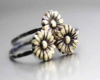 Boho Sunflower Ring, Flower Stack Ring, Flower Ring, Silver Stack Ring, Sunflower Stack Ring, Boho Flower Ring, Sterling Silver