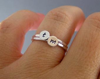 Triangle Initial Ring \u2022 Personalized ring \u2022 stacking ring \u2022 letter ring \u2022 customized initial ring \u2022 Sterling silver ring HCR T 10.8 OD