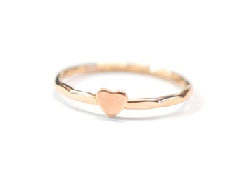 Hammered Copper Heart Ring