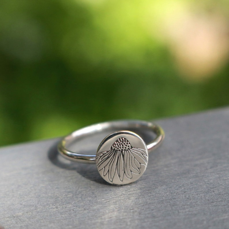 Sterling Silver Ring Echinacea Flower Engraved Flower Ring Bridesmaid Ring Mothers Ring Womens Stacking Ring Custom Ring