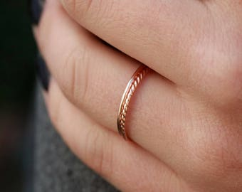 Rose Gold Stack Rings, Womens Stack Rings, Rope Ring, Rose Gold Twisted Ring, Smooth Gold Band, Gold Filled, Wedding Ring, Midi Rings