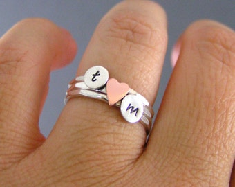 Custom Initial Sweetheart Rings, Stack Rings,  Silver Rings, Initial Rings, Copper Heart Rings, Personalized Rings, Set Of Three