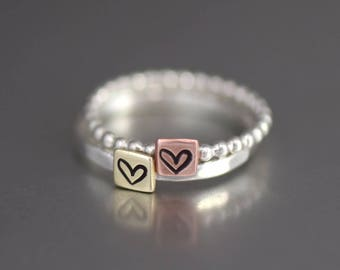 Copper Heart Stacking Ring, Sterling Silver Band, Brass Heart Ring, Anniversary Ring, Heart Stack Rings, Love Ring, Bridesmaid Rings, Band
