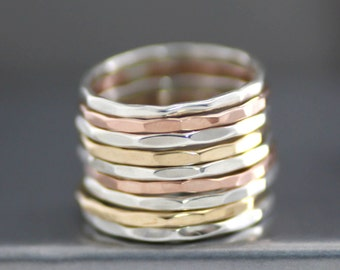 Gold Stack Rings, Set Of 2 Stack Rings, Sterling Stack Rings, Rose Gold Filled Stack Rings, Womens Stack Rings, Wedding Rings, Midi Ring