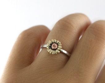 Sunflower Ring, Stack Ring, Flower Stack Ring, Flower Ring, Silver Stack Ring, Sunflower Stack Ring