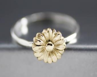 Yellow Sunflower Ring, Flower Stack Ring, Flower Ring, Silver Stack Ring, Sterling Silver, Boho Flower Ring, Hipster Ring, Womens Stack Ring