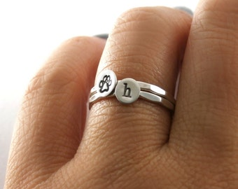Stack Rings, Paw Print Rings, Custom Initial Paw Print Rings, Sterling Silver Stack Rings, Dog And Cat Paw Print Rings