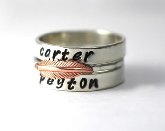 Feather Ring, Mothers Rings, Stack Bands, Custom Name Rings, Personalized Name Ring, Wedding Bands, Copper Feather Ring, Sterling Ring