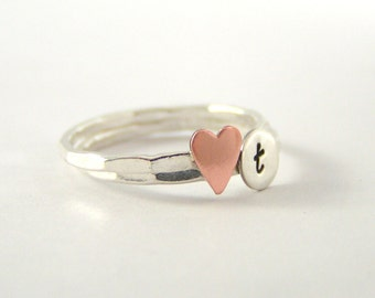 Custom Initial Ring, Copper Heart And Sterling Silver Personalized Initial Ring Set Of 2