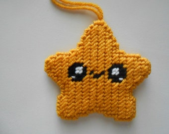 Plastic Canvas Gold Happy Star Ornament