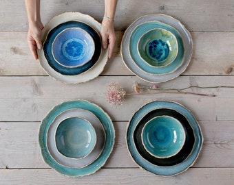 Handmade ceramics dinnerware set for two Dinner plates Pottery set