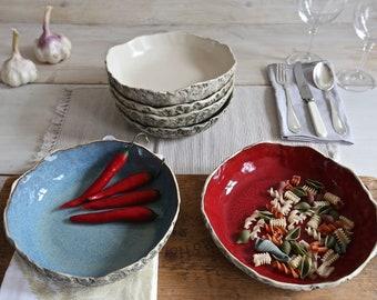 Serving bowl, Handmade ceramic pasta bowl, shallow fruit bowl,Stoneware bowl, salad bowl, Soup bowl, Large serving bowl, Gift, Wedding Gift