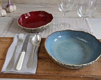 2 pasta bowl set, Handmade ceramic pasta bowl, handmade bowl set, salad bowl set, Soup bowl set, Large serving bowl, Christmas Wedding gift