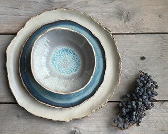 Rustic dinnerware set New colours! Organic shaped ceramics Handmade Pottery Dinner set