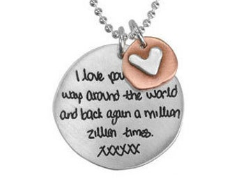 Handwriting Necklace Sculpted Circle - Remembrance Jewelry - Memorial Jewelry - Kid's Drawing Necklace