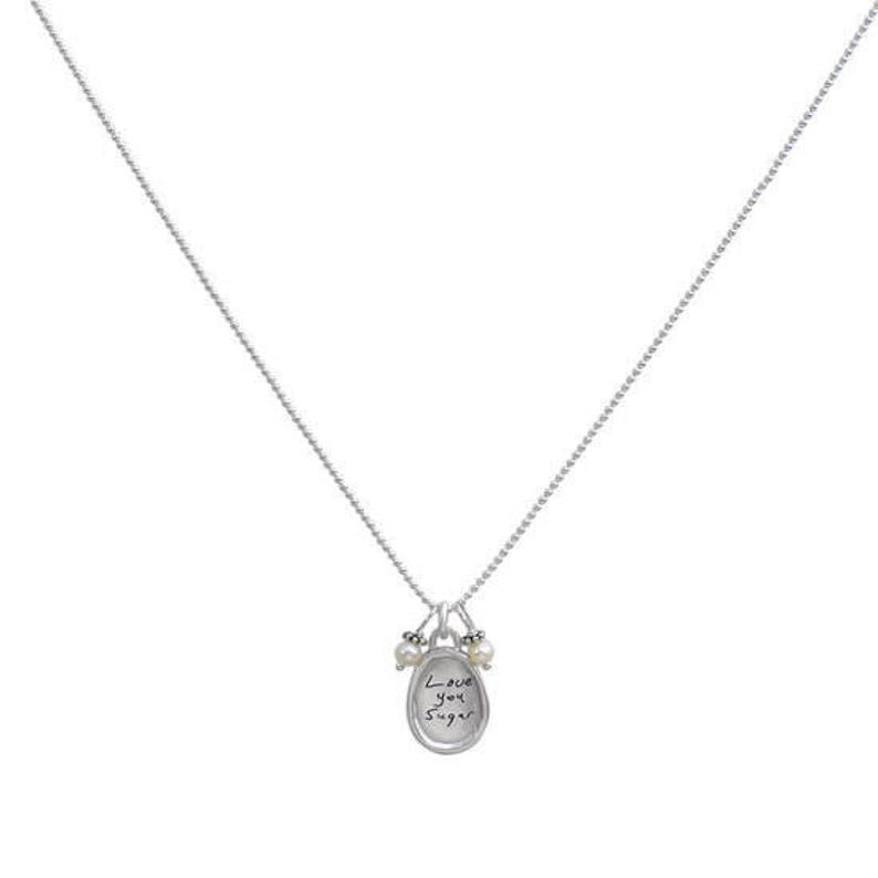 Memorial Jewelry Remembrance Jewelry Handwriting Necklace Sculpted Raised Edge Small Oval Loved One/'s Note Necklace
