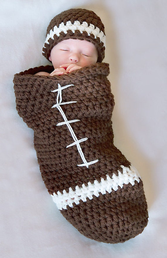 Football Cocoon And Beanie Pattern Newborn Crochet Digital Etsy