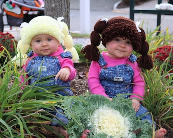 Cabbage Patch Hat You Pick the Color 11 colors to choose from, Sizes Newborn to Large Adult  Halloween wig costume Pigtails hat with ribbon