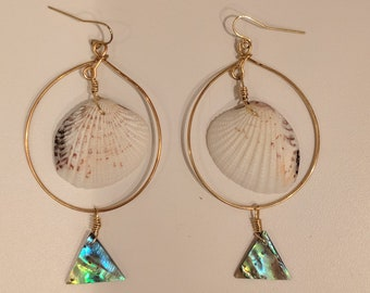 715    Abalone triangles and shells picked on Maui, Hawaii on brass hoop earrings