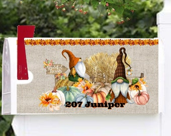 Mailbox Cover with Magnetic Strip, Personalized Fall Gnomes Pumpkins Mailbox Cover, Custom Address Mailbox Cover, Personalized Mailbox Cover
