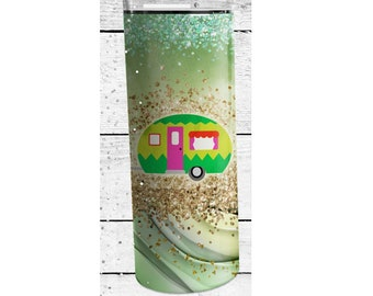 Happy Camper Tumbler Sublimation Wrap, Ready to Press Sublimation Transfer, Camping Wrap, 20 oz Straight or Tapered Tumbler, Tumbler Wrap